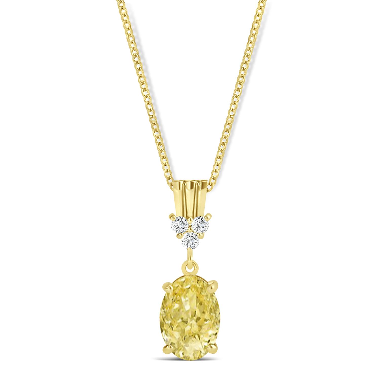 Oval Shape Yellow Diamond & Diamond Pendant Necklace 14k Yellow Gold (1.05ct)