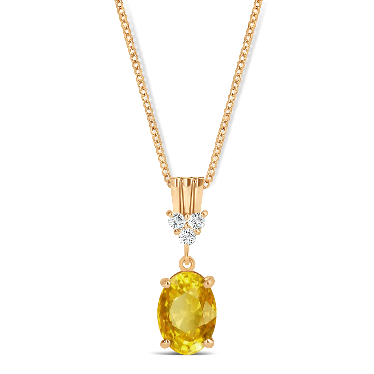 Oval Shape Yellow Sapphire & Diamond Pendant Necklace 14k Rose Gold (1.05ct)