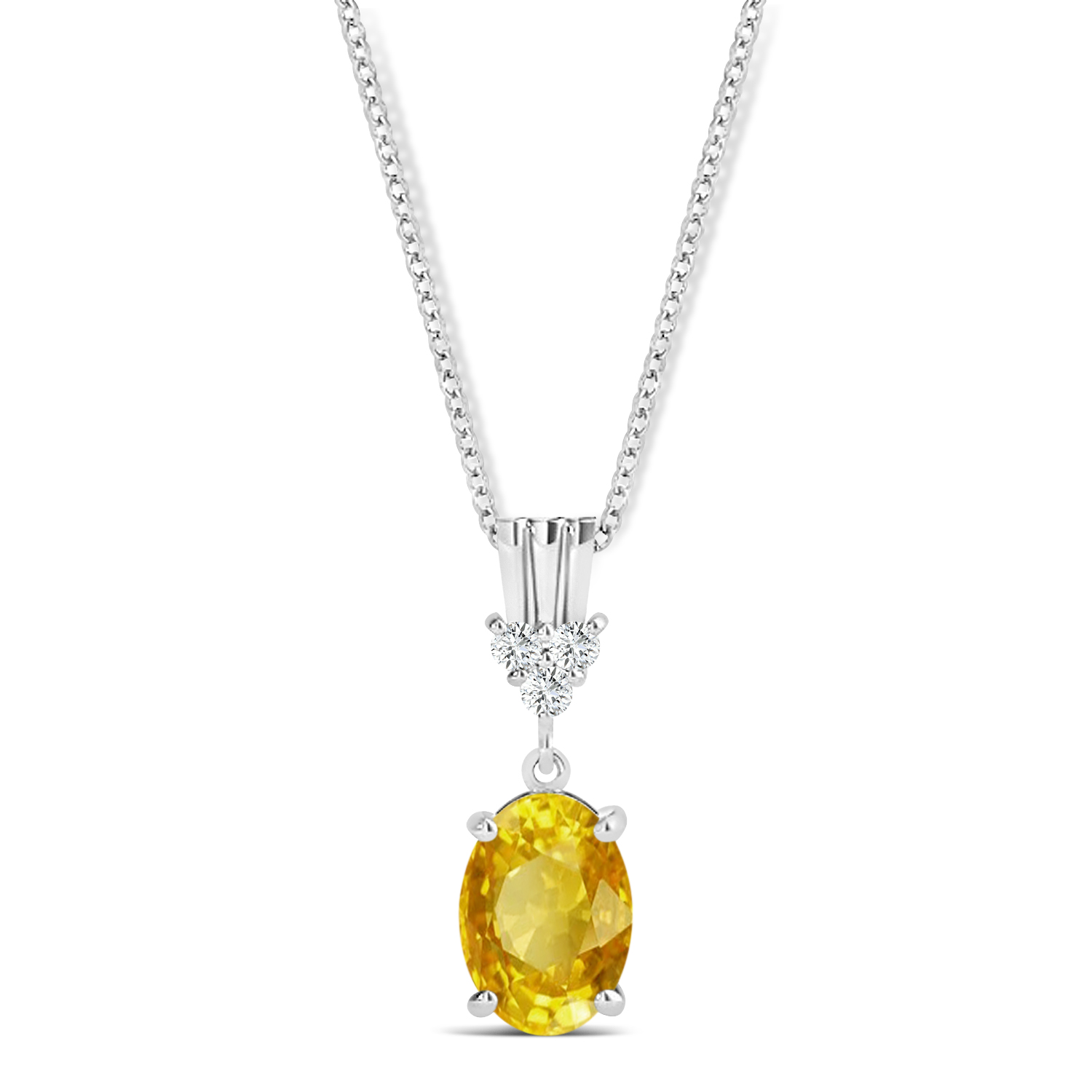 Oval Shape Yellow Sapphire & Diamond Pendant Necklace 14k White Gold (1.05ct)
