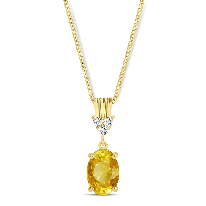Oval Shape Yellow Sapphire & Diamond Pendant Necklace 14k Yellow Gold (1.05ct)
