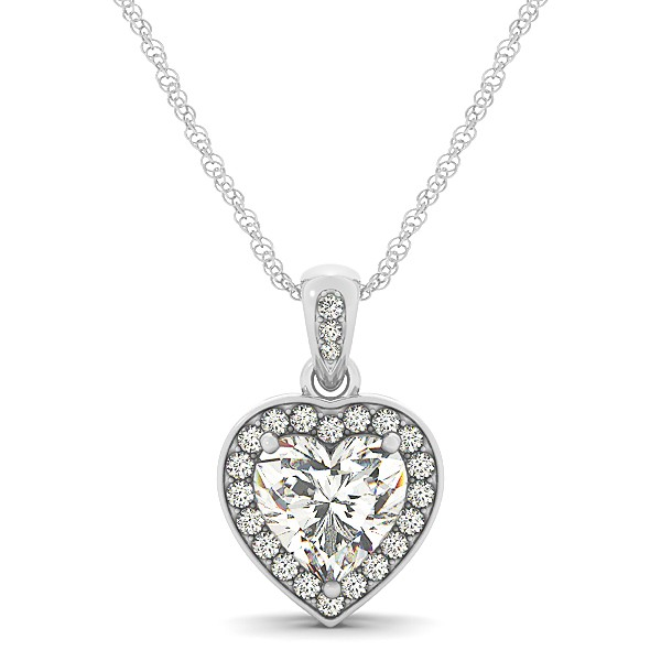 Heart Shaped Diamond Pendant Halo Necklace 14k White Gold (0.85ct)