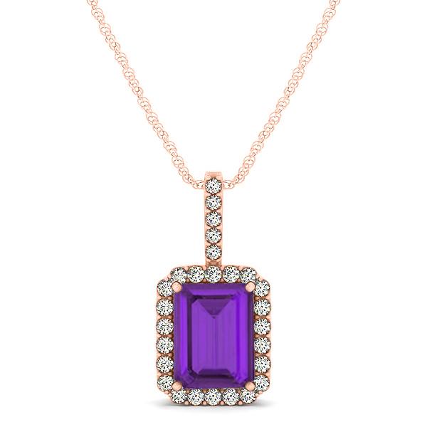 344fa2e271f3d Diamond & Emerald Cut Amethyst Halo Pendant Necklace 14k Rose Gold (1.19ct)