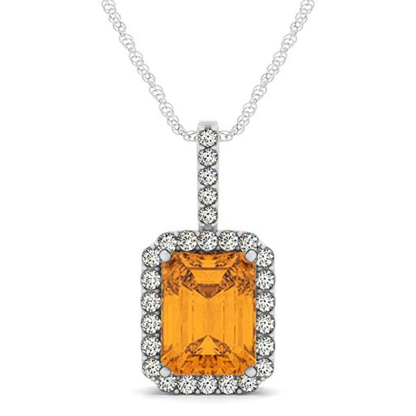 Diamond & Emerald Cut Citrine Halo Pendant Necklace 14k White Gold (4.25ct)