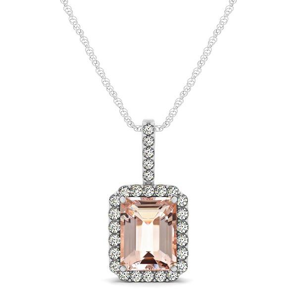 Diamond & Emerald Cut Morganite Halo Pendant Necklace 14k White Gold (1.09ct)