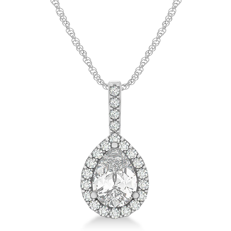 Pear Shape Diamond Halo Pendant Necklace 14k White Gold (1.25ct)