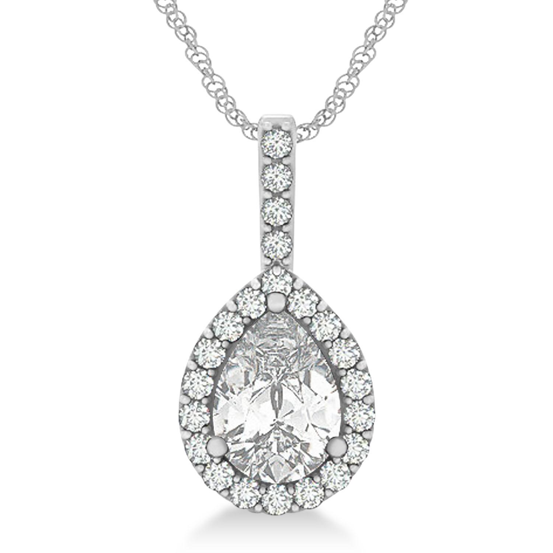 Pear Shape Diamond Halo Pendant Necklace 14k White Gold (2.20ct)