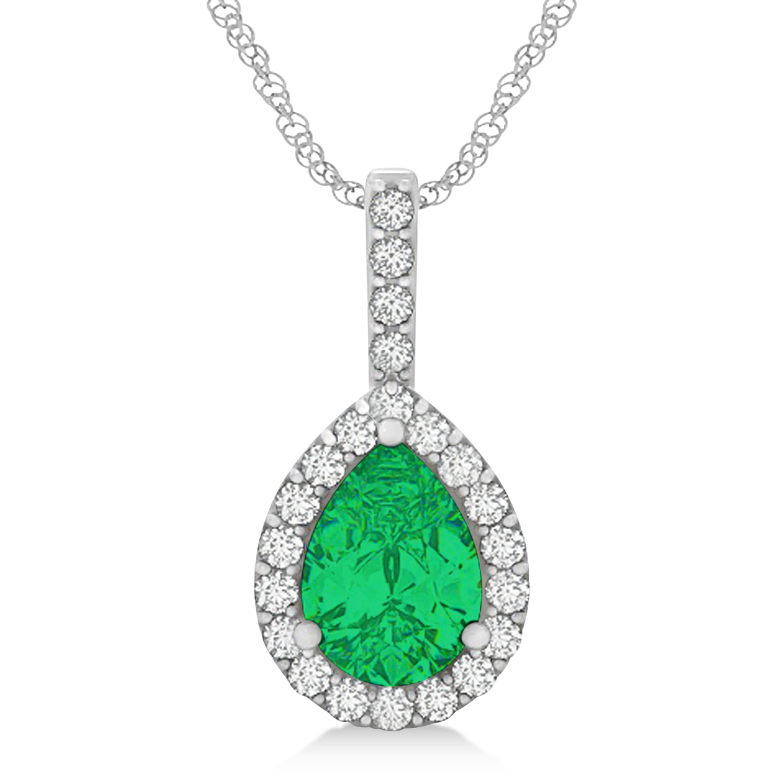 Pear Shape Diamond & Emerald Halo Pendant 14k White Gold 2.20ct