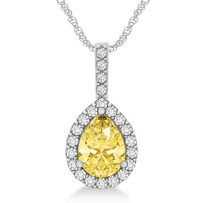 Pear Shape Diamond & Yellow Sapphire Halo Pendant 14k White Gold 2.20ct