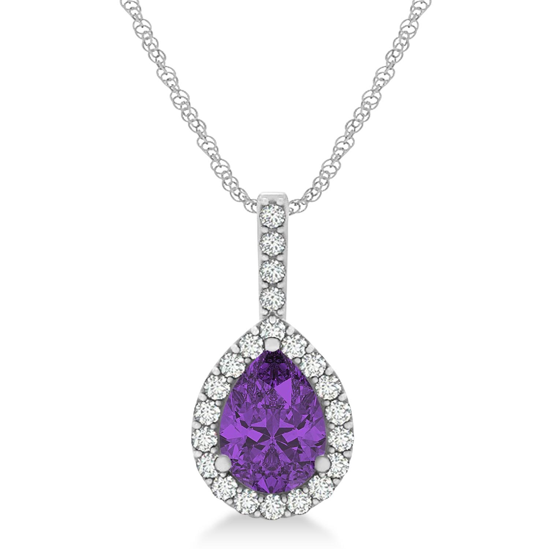 Pear Shape Diamond & Amethyst Halo Pendant 14k White Gold 1.25ct