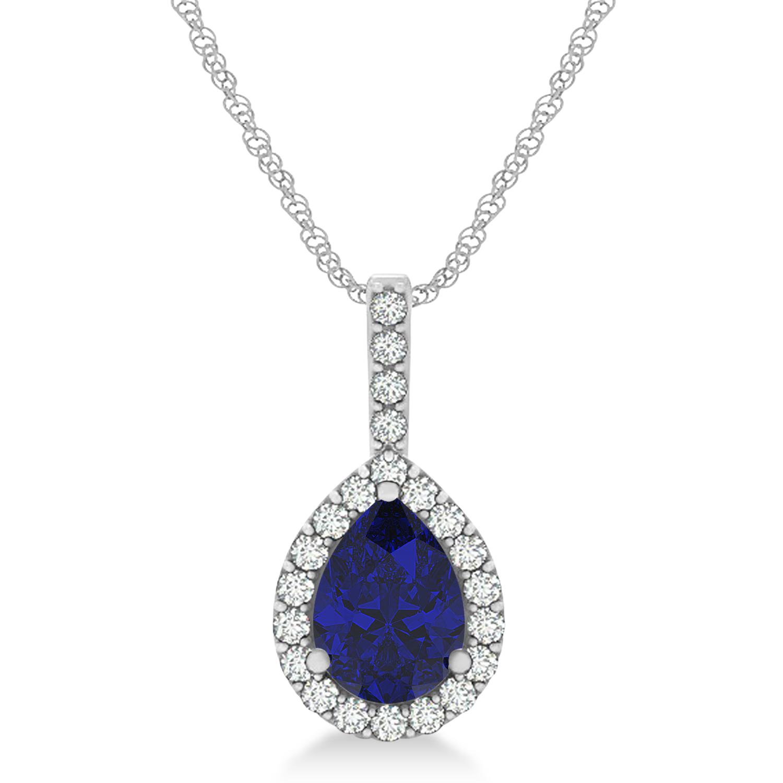 Pear Shape Diamond & Blue Sapphire Halo Pendant 14k White Gold 1.25ct