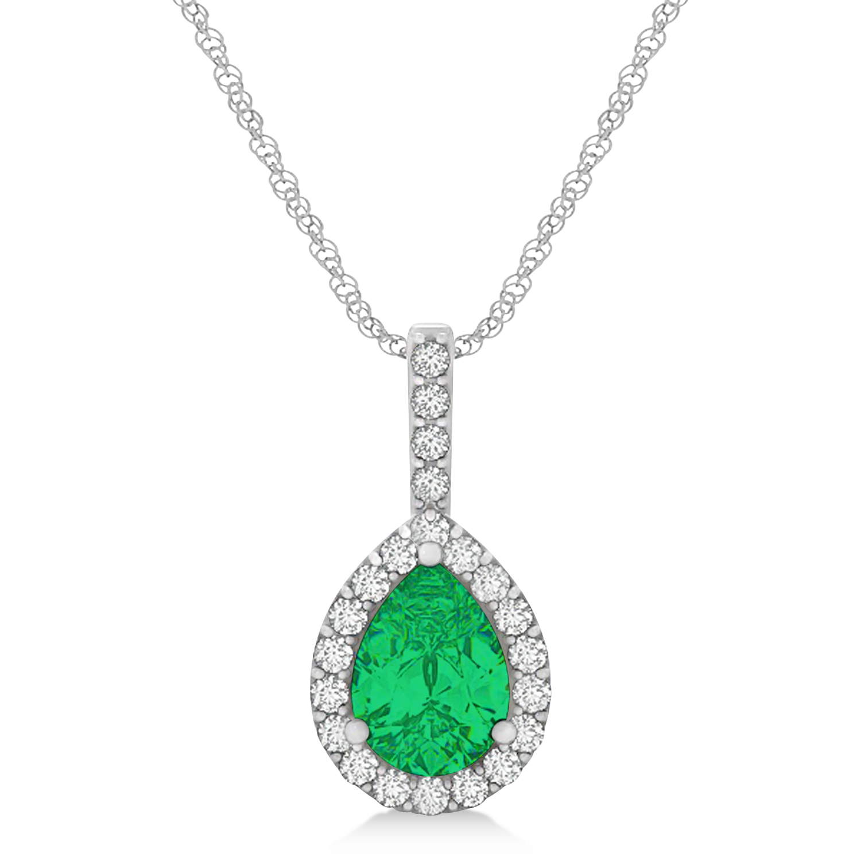 Pear Shape Diamond & Emerald Halo Pendant 14k White Gold 1.25ct