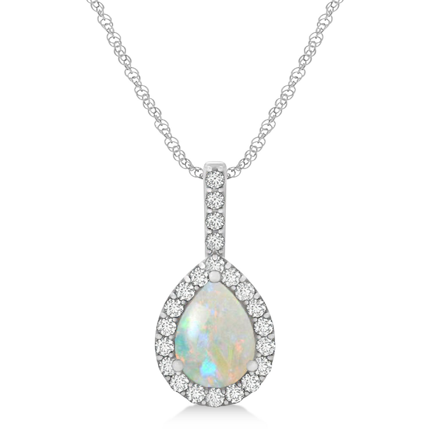 Pear Shape Diamond & Opal Halo Pendant 14k White Gold 1.25ct