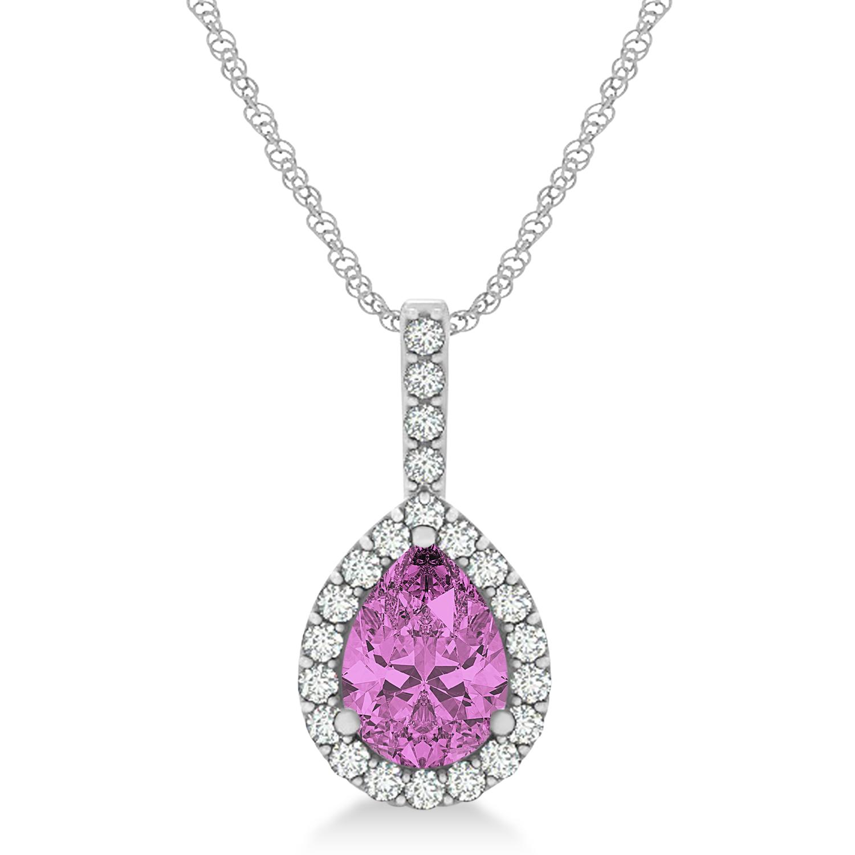 Pear Shape Diamond & Pink Sapphire Halo Pendant 14k White Gold 1.25ct
