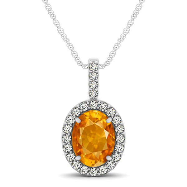 Citrine & Diamond Halo Oval Pendant Necklace 14k White Gold (1.02ct)