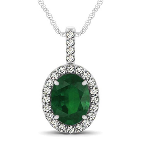Emerald & Diamond Halo Oval Pendant Necklace 14k White Gold (2.47ct)