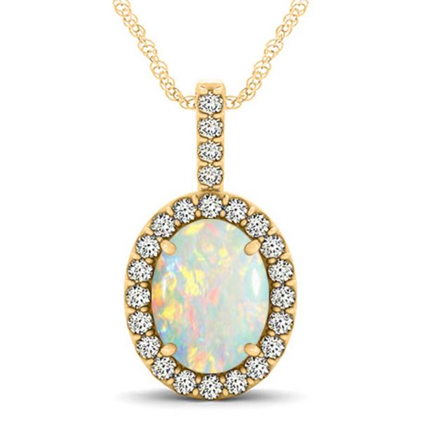 Opal & Diamond Halo Oval Pendant Necklace 14k Yellow Gold (1.90ct)