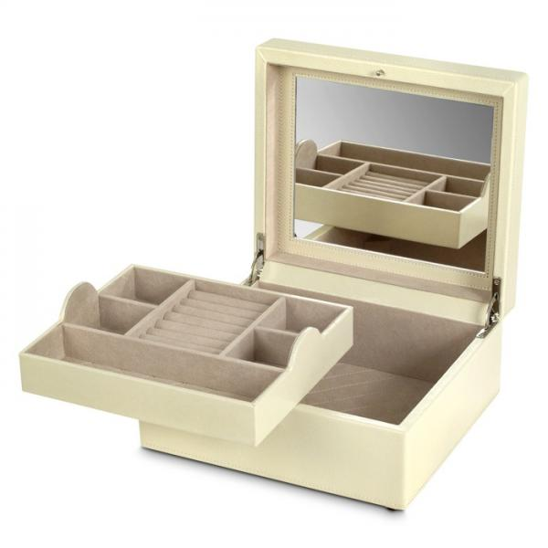 WOLF London Women's Small Genuine Leather Mirrored Jewelry Box with Lock 3 Colors