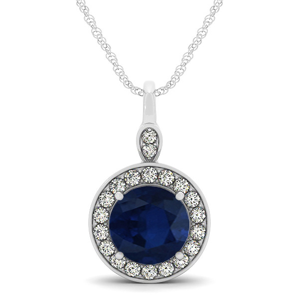 d1bc1b54dd3ae Round Blue Sapphire & Diamond Halo Pendant Necklace 14k White Gold (2.30ct)