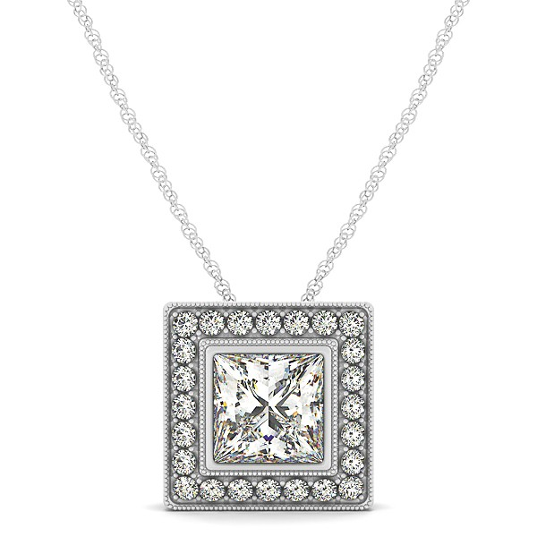 Halo Princess Cut Diamond Pendant Necklace 14k White Gold (1.75ct)