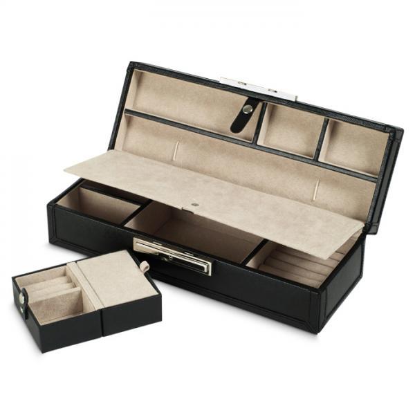 Faux Leather Jewelry Safe Deposit Case W Travel Box 3