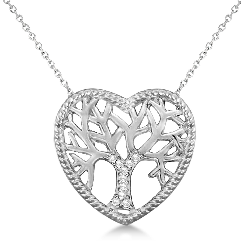 Diamond Heart Family Tree of Life Pendant Necklace 14k White Gold (0.05ct)