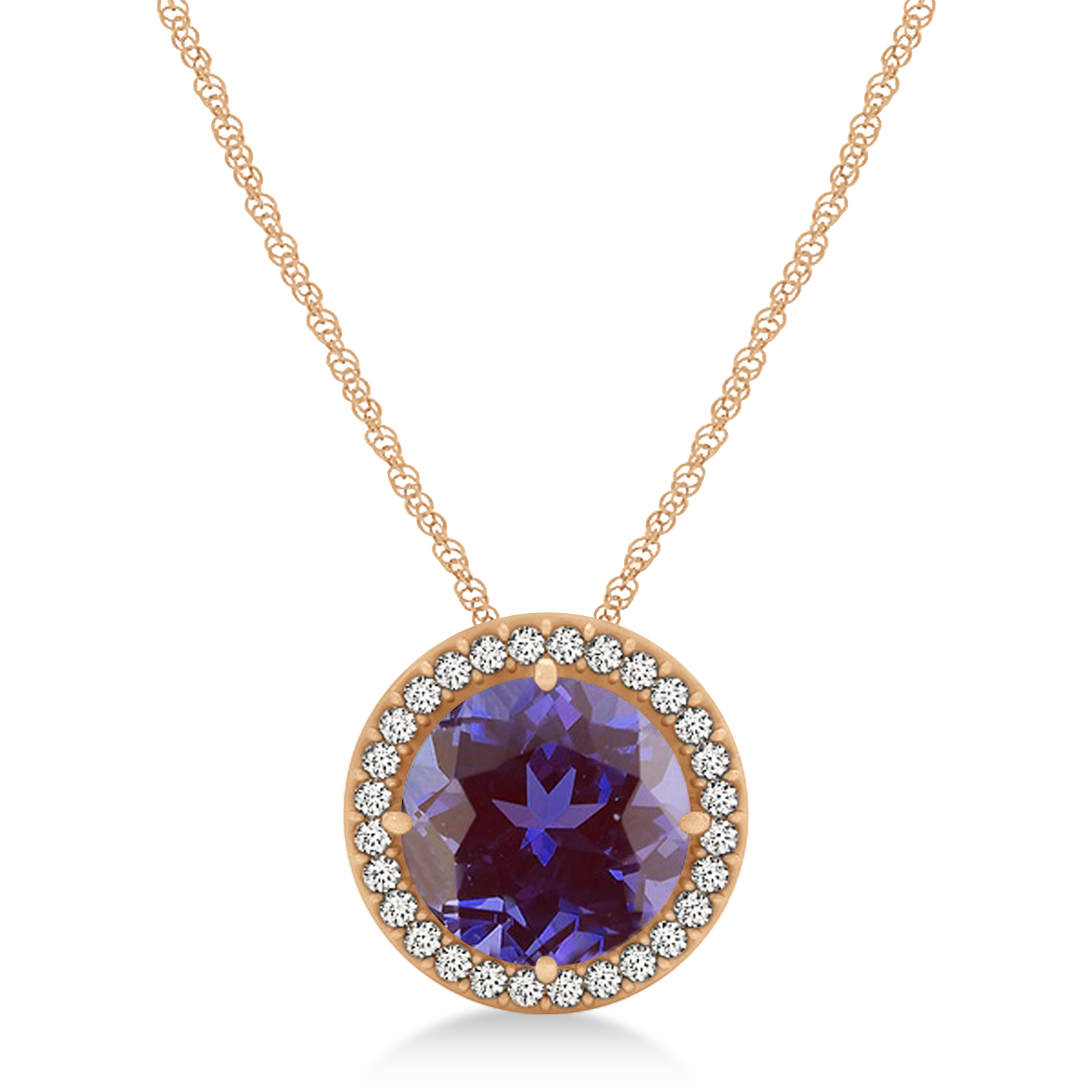 Lab Alexandrite Floating Solitaire Halo Pendant Necklace 14k Rose Gold (2.04ct)