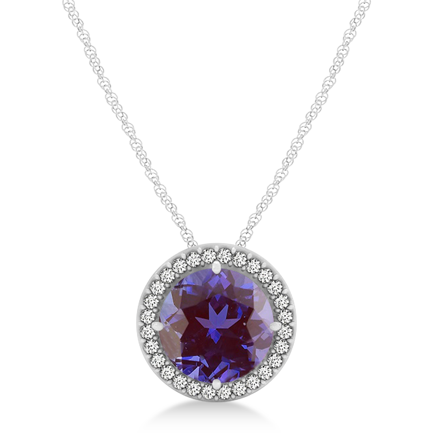 Lab Alexandrite Floating Solitaire Halo Pendant Necklace 14k White Gold (2.04ct)