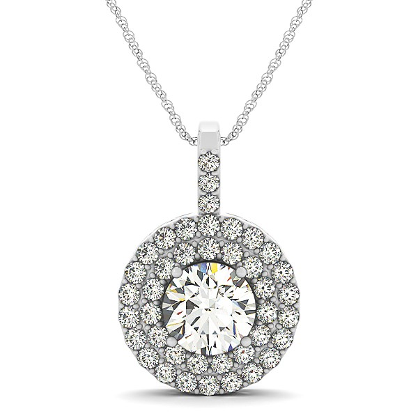 Diamond drop double halo pendant necklace 14k white gold 175ct diamond drop double halo pendant necklace 14k white gold 175ct mozeypictures Image collections