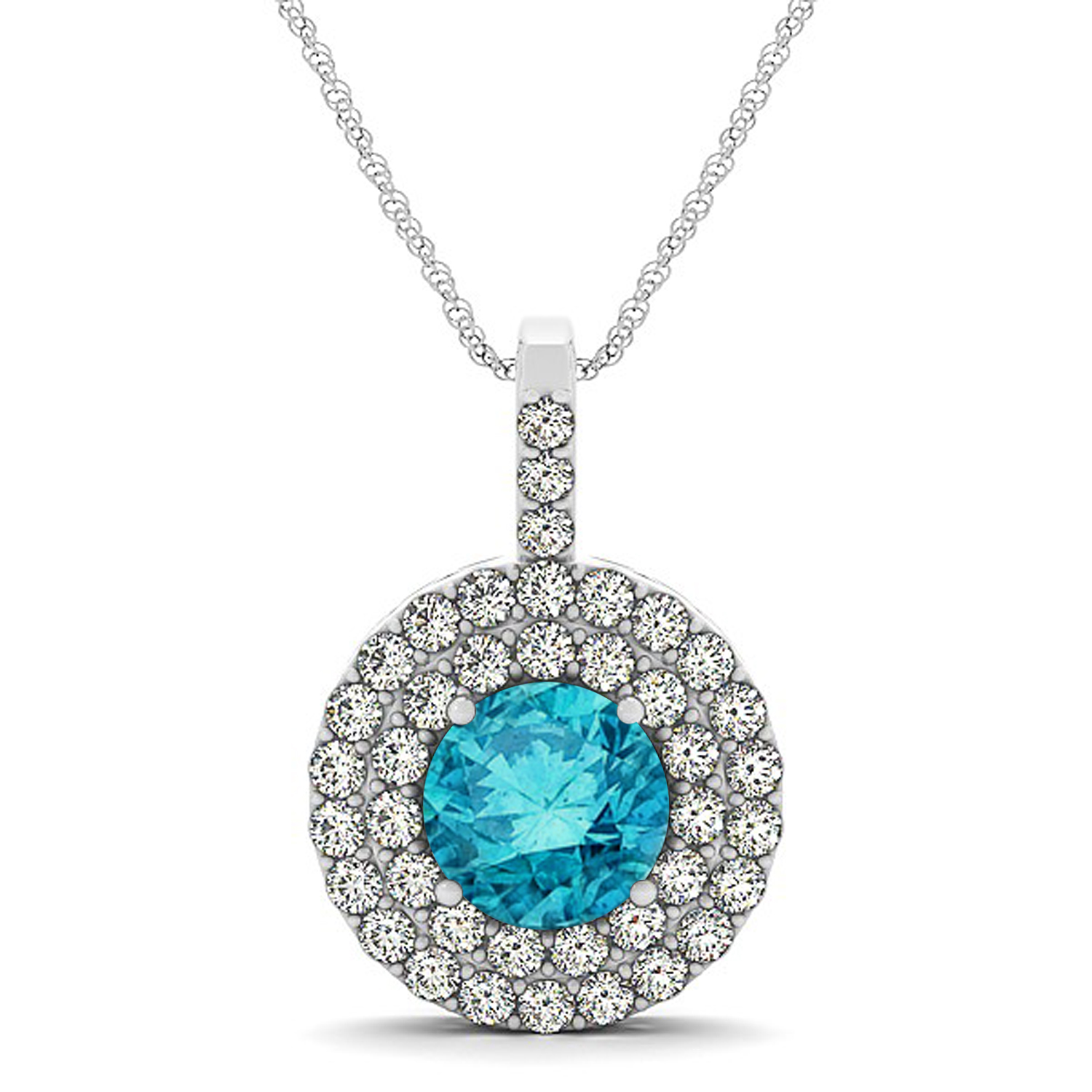 2239db3cc Blue Diamond & Diamond Drop Double Halo Pendant 14k White Gold 1.75ct -  NG5484