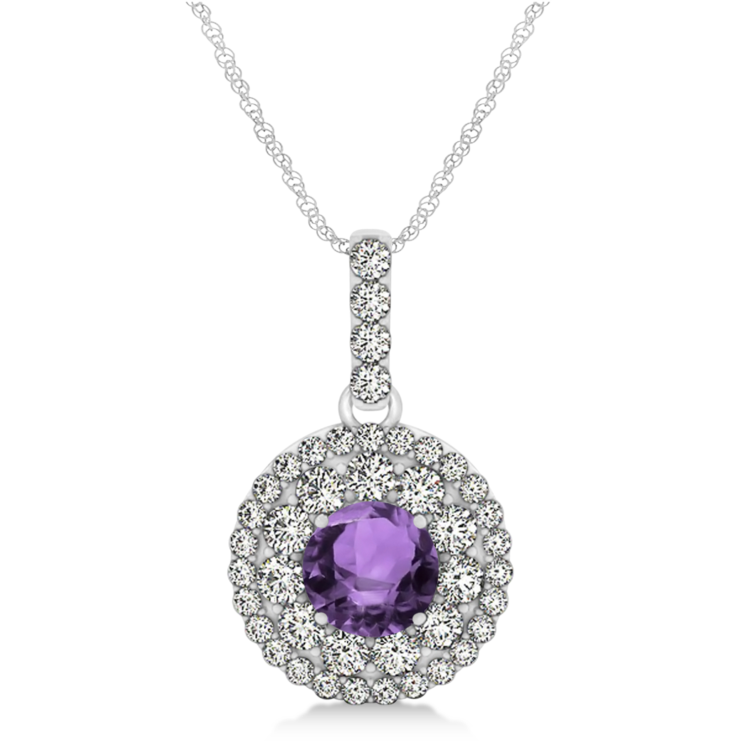 Round Double Halo Diamond & Amethyst Pendant 14k White Gold 1.21ct