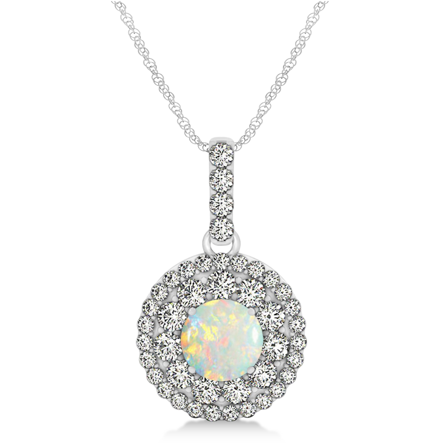 Round Double Halo Diamond & Opal Pendant 14k White Gold 1.09ct