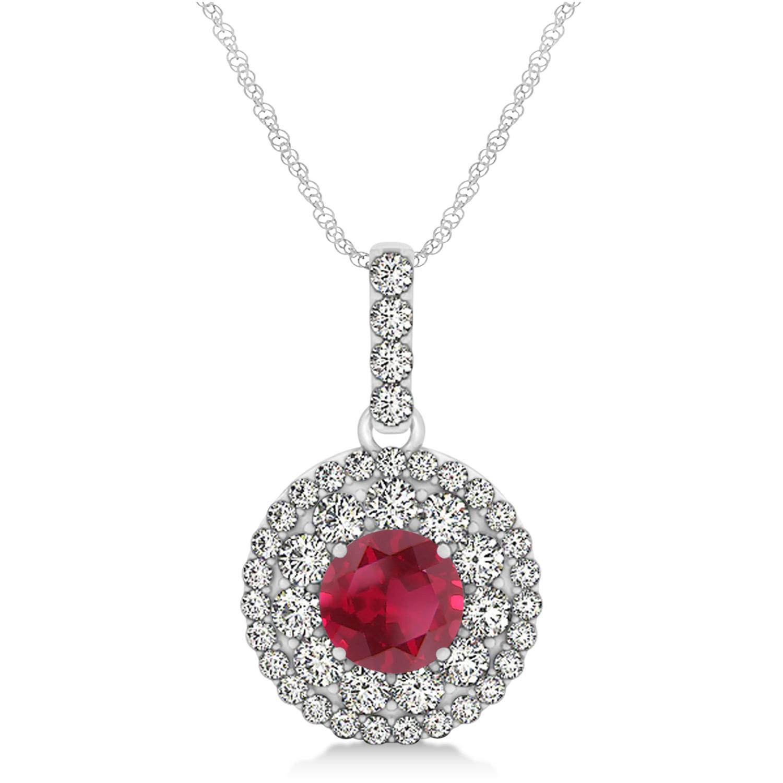 Round Double Halo Diamond & Ruby Pendant 14k White Gold 1.46ct