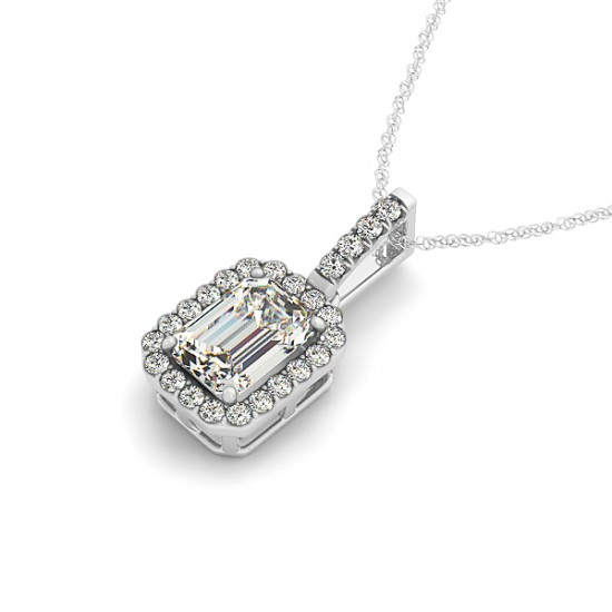 Emerald Cut Halo Pendant Necklace 14k White Gold (1.25ct)