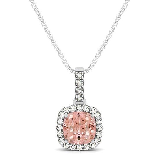 Pink Morganite & Diamond Halo Cushion Pendant Necklace 14k White Gold (0.76ct)