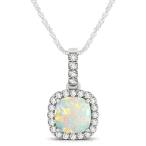 Opal & Diamond Halo Cushion Pendant Necklace 14k White Gold (1.55ct)