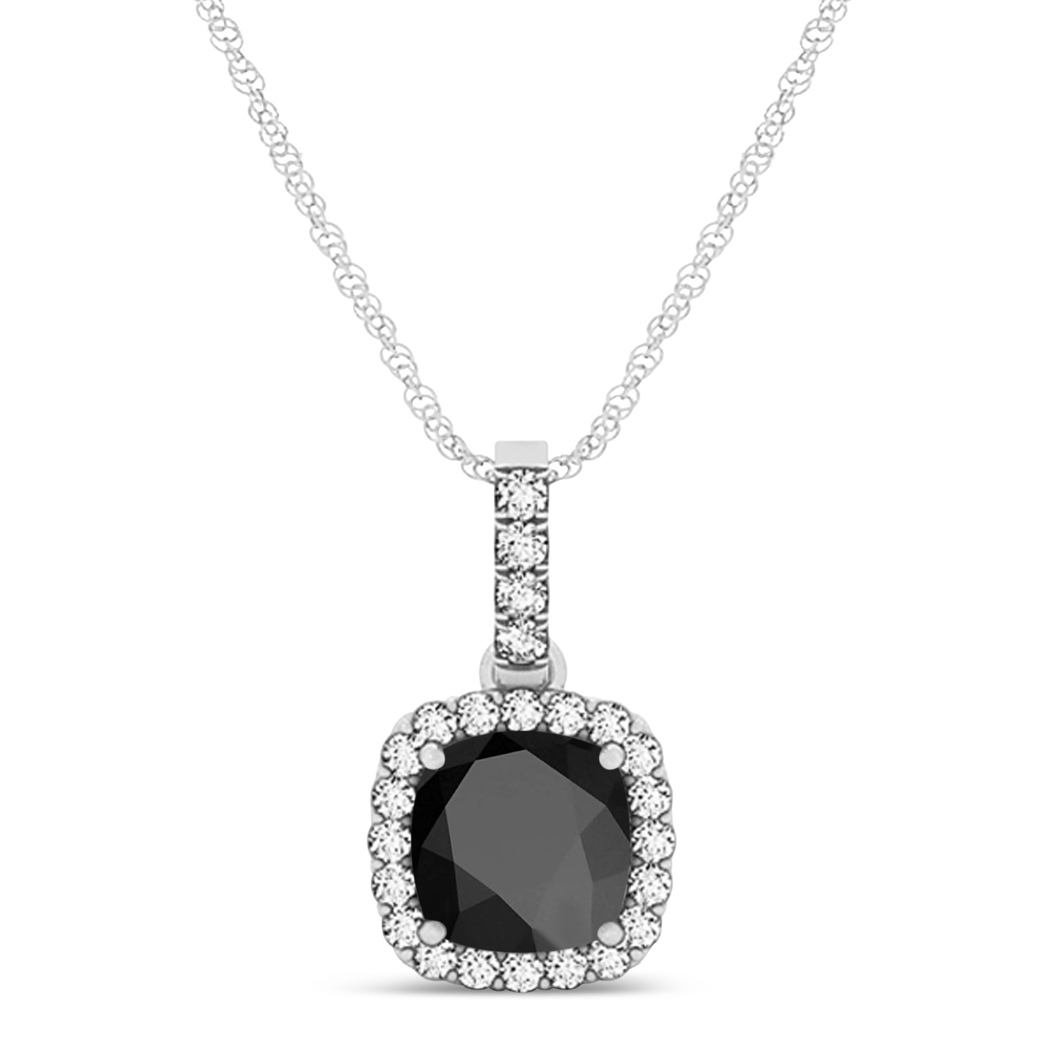 Black Onyx & Diamond Halo Cushion Pendant Necklace 14k White Gold (0.66ct)