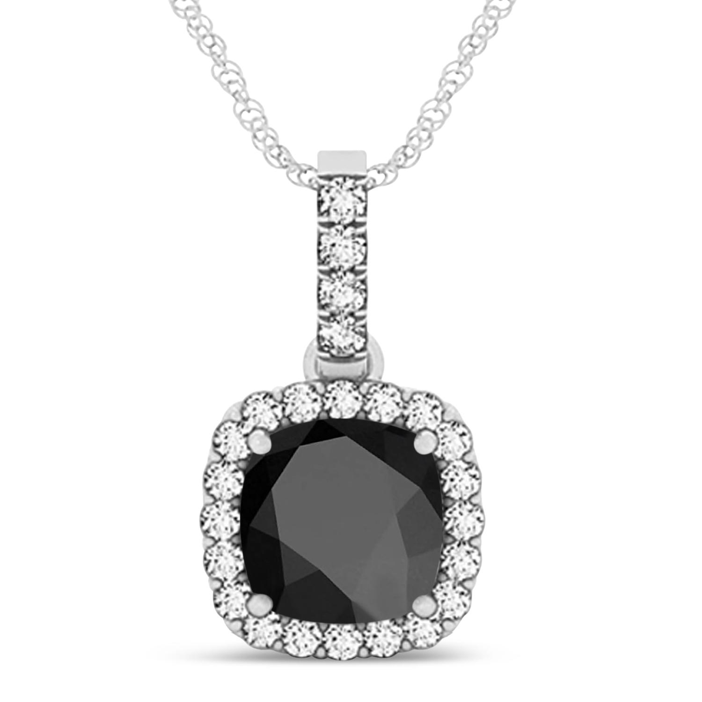 Black Onyx & Diamond Halo Cushion Pendant Necklace 14k White Gold (4.05ct)