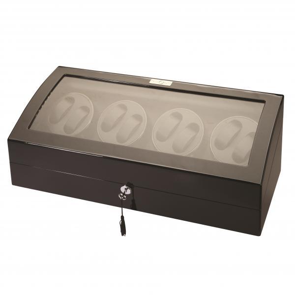 LED Black Wood Eight Watch Winder w/ Additional Storage