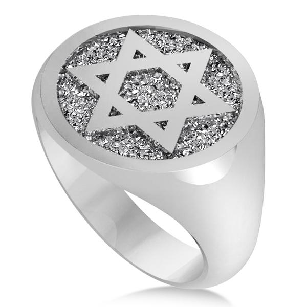 Raised Jewish Star of David Signet Ring for Men 14k White Gold
