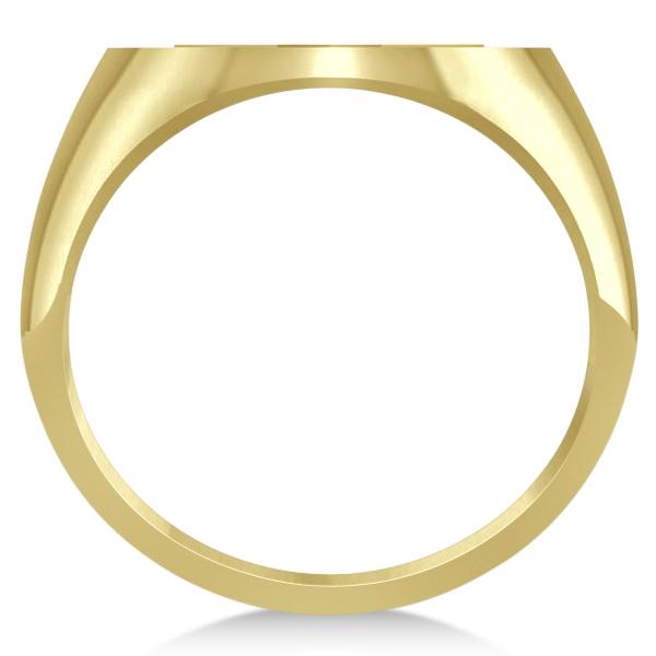 Raised Jewish Star of David Signet Ring for Men 14k Yellow Gold