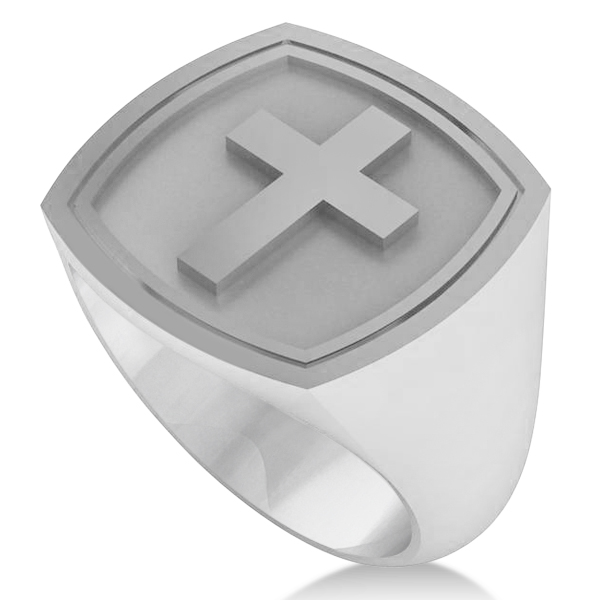 Raised Cross Signet Ring for Men Wide Band Polished 14k White Gold