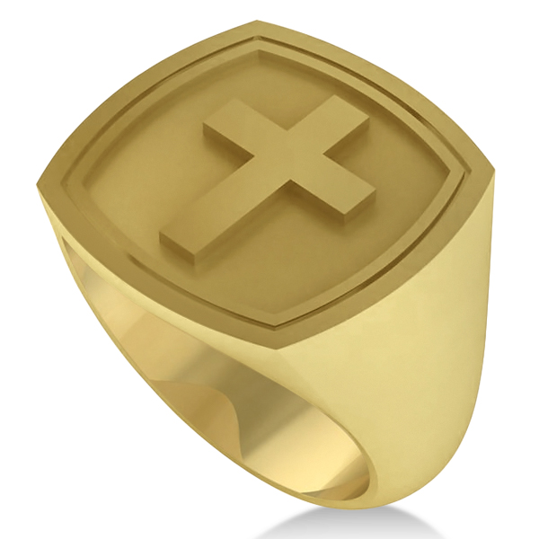 Raised Cross Signet Ring for Men Wide Band Polished 14k Yellow Gold