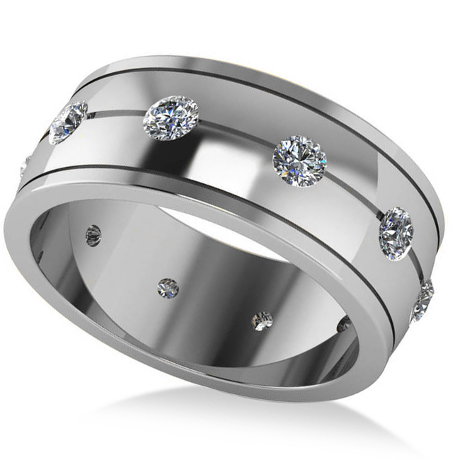 Men's Diamond Ring Eternity Wedding Band 14k White Gold (1.00ct)
