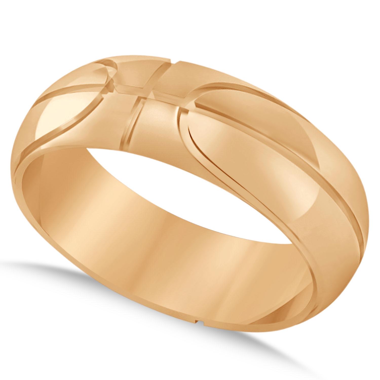 Men's Basketball Eternity Sports Band Ring 14k Rose Gold