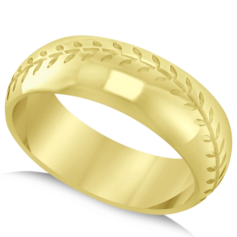 Men's Baseball Eternity Sports Band Ring 14k Yellow Gold