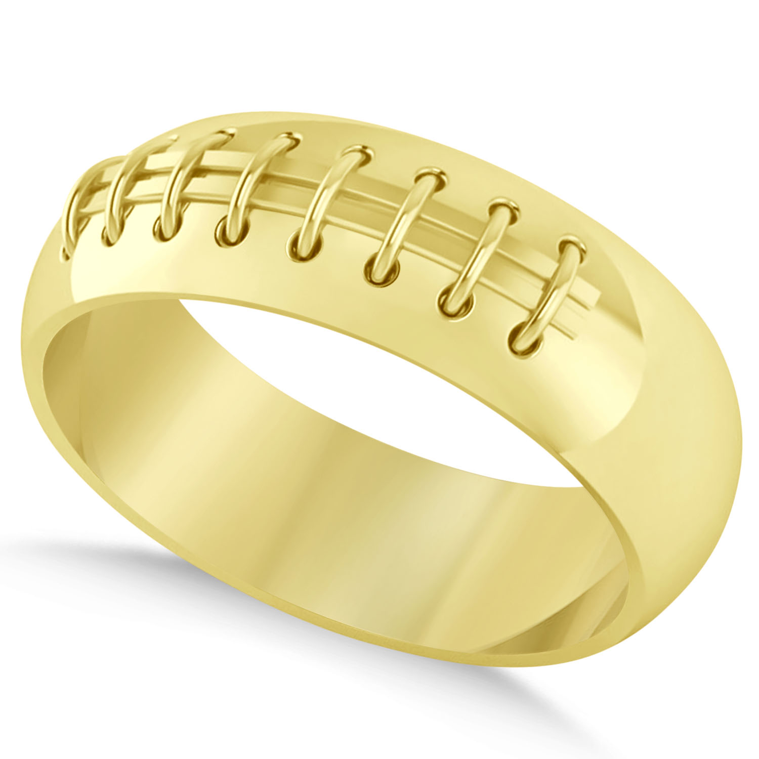 Men's Football Carved Sports Band Ring 14k Yellow Gold