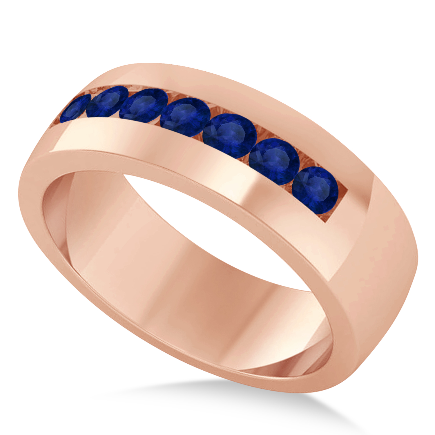 Men's Blue Sapphire Channel Set Wedding Band 14k Rose Gold (0.49ct)