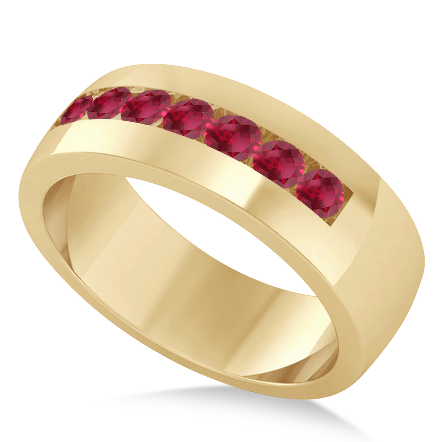 Men's Ruby Channel Set Wedding Band 14k Yellow Gold (0.49ct)