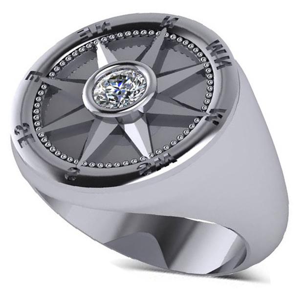 Men's Diamond Nautical Compass Fashion Ring Palladium (0.25ct)