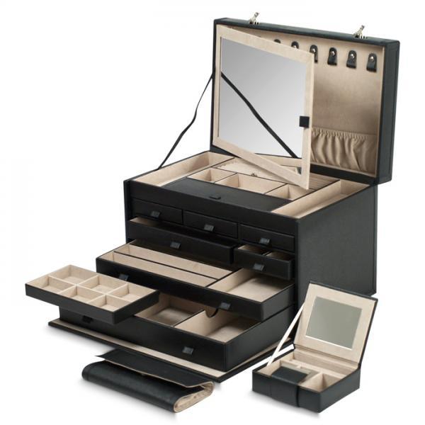 Women's 7 Drawer Genuine Leather Jewelry Box w/ Mirror 2 Travel Cases